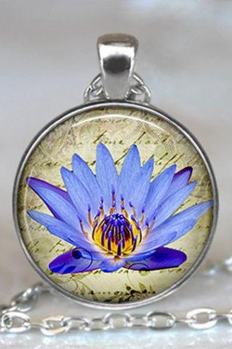 Blue Lotus pendant, lotus jewelry, lotus necklace, meditation jewelry, lotus