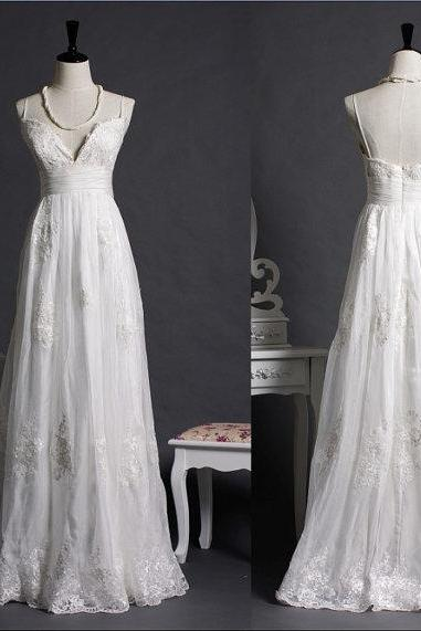 Lace Wedding Dress Bridal Gown Beach Wedding Dress Spaghetti Strap V-neck Wedding Dress Empire Waist Wedding Dress Applique Wedding Dress Floor length Wedding Dress Long Wedding Dress