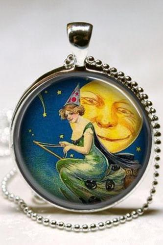 Pretty Witch Necklace Full Moon Jewelry Harvest Moon Shooting Star Halloween