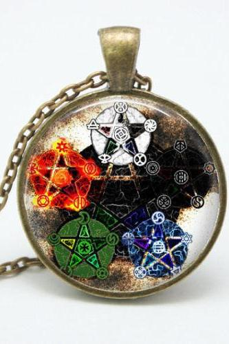 Elements Pentagram Wicca Pendant Necklace Wiccan Jewelry Occult Charm