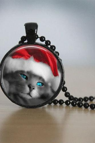 Christmas Necklace Christmas Jewelry Beaded Jewelry Holiday Jewelry Cat