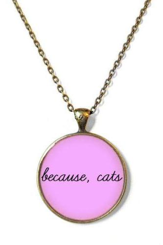 Kawaii because, cats Pastel Goth Necklace - Funny Crazy Cat Lady Jewelry