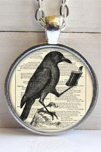 Raven Pendant, Raven Necklace, Crow Necklace, Bird Jewelry Necklace