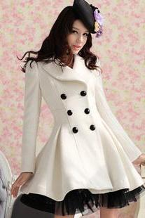 White Wool Long Winter Dress Coat