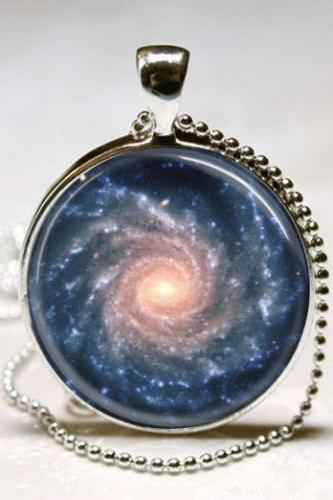 Spiral Galaxy Necklace Outer Space Milky Way Astronomy Nebula Art Pendant