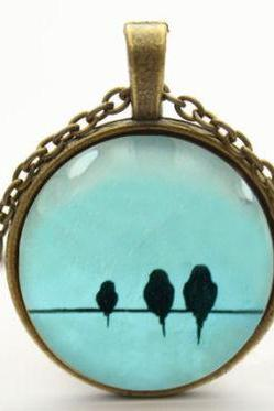 love birds on wire necklace bird necklace pendant jewelry