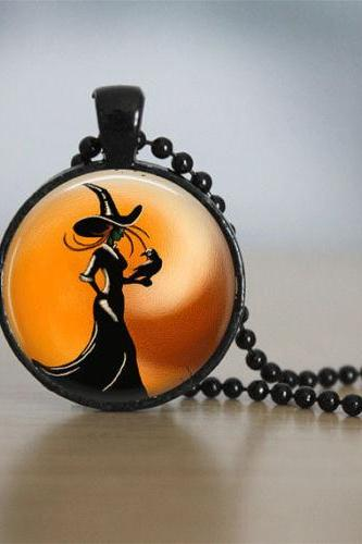Halloween Jewelry Halloween Necklace Glass Tile Necklace Witch Jewelry