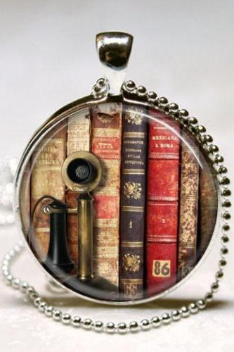 Book Necklace Old Book Spines and Vintage Telephone, Library