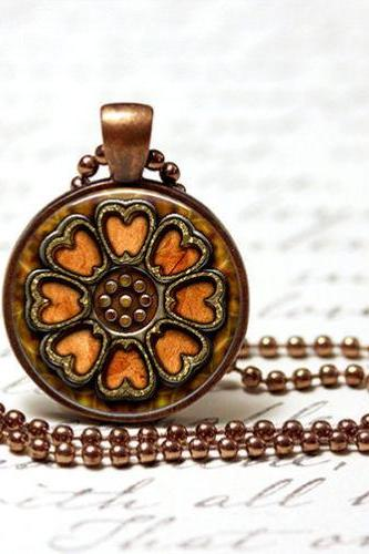 Pai Sho Inspired Pendant In Copper with Chain