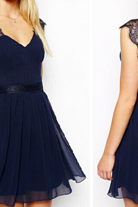 Blue lace backless chiffon dress