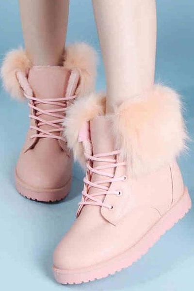 Wool Stitching Strappy Snow Boots