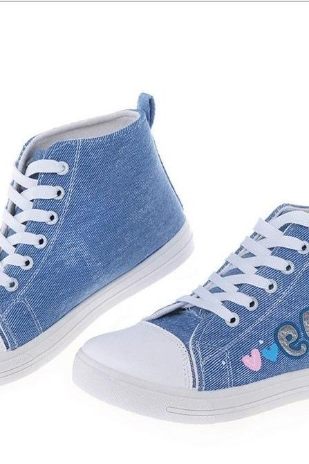 Denim High Top Canvas Sneakers with Patches - Red / Blue
