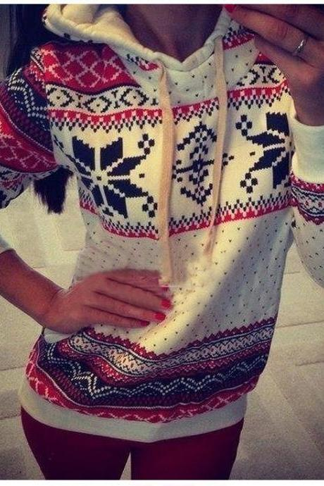 New Fashion Women Pullover Snowflake Sweater Christmas Sweater Casual Pullover Jacket