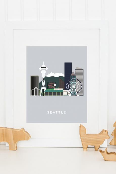 Seattle City Print in our West Coast Cities Series Wall art for the home