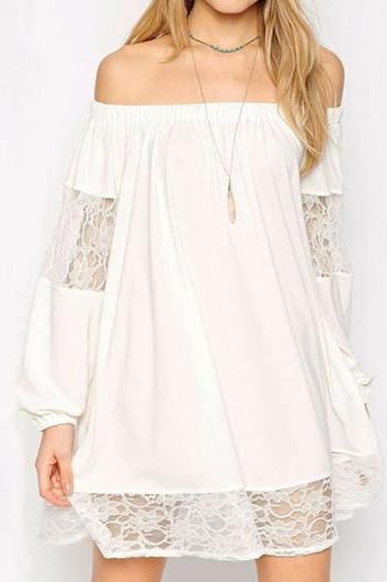 Sexy Off the Shoulder Lace Panel Dress (2 colors)