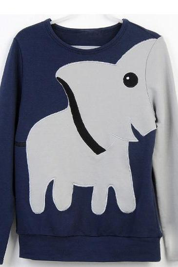 Dark Blue Tee With Elephant Pattern