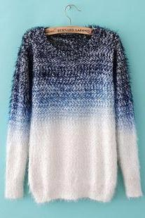 Blue And White Mohair Sweater