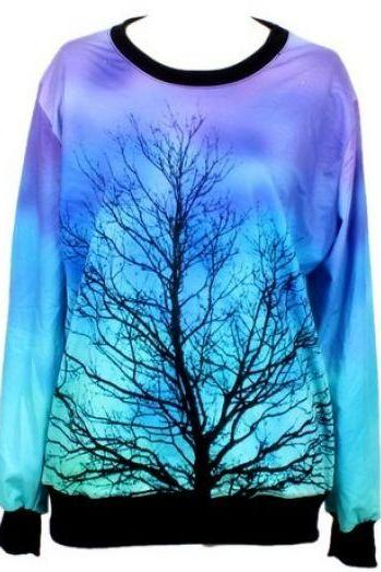 Tree Print Blue Sweatshirt