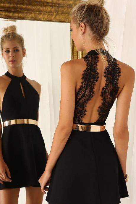 Sexy Black Prom Dresses,Short Homecoming Dresses,Sleeveless Lace Party Dresses Gown