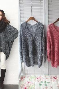 Grey Loose V-Neck Pullover Sweater
