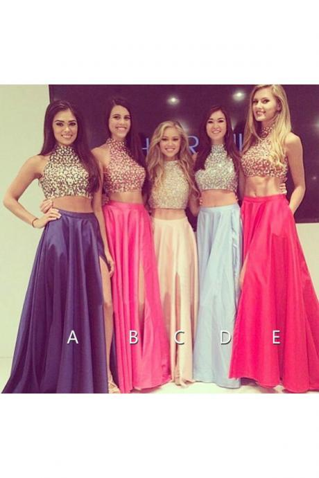 long prom dress, party prom dress, popular prom dress, ball gown, two pieces prom dress, custom color prom dress, long evening dress, 14955