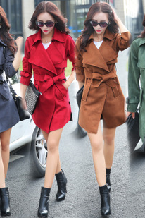 New fashion bowknot cultivate one's morality suede trench coat FGG
