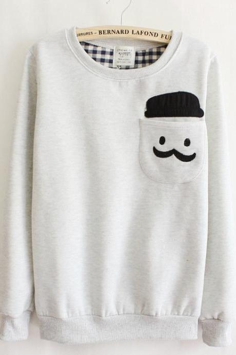 Fashion Doll Head Grey Women Sweater