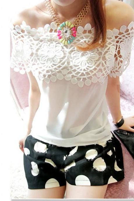 Chic Women Boat Neck Off Shoulder Hollow Lace Crochet White Chiffon Blouse Top