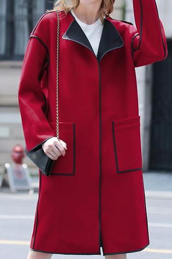 Fashion Wine Red Long Sleeve Button Closure Coat