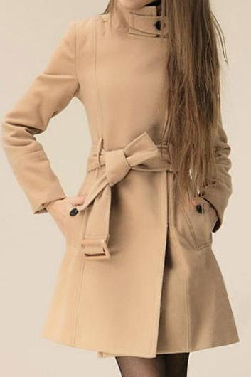 Fashion Zip Up Khaki Long Sleeve Long Coat For Women (2 Colors)