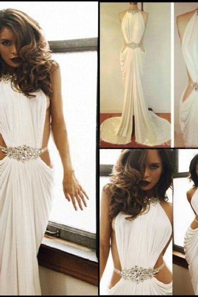 long prom dress, white prom dress, party prom dress, sexy prom dress, cheap prom dress, chiffon prom dress, long evening dress, 14971