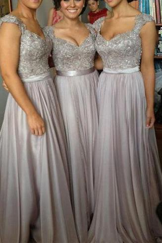 long bridesmaid dress, gray bridesmaid dress, lace bridesmaid dress, modest bridesmaid dress, cheap bridesmaid dress, 14981