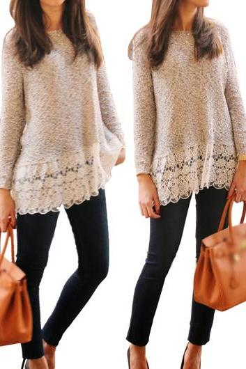 Fashion Grey Round Neck Lace Splicing Sweater