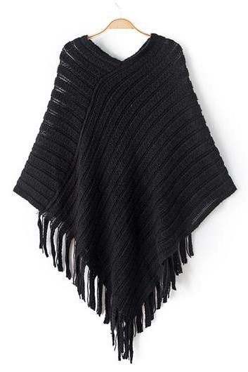 Fashion Fringe Embellished Cloak Design Sweaters (4 colors)