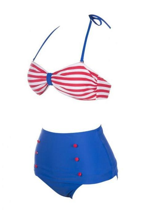 Swimsuit Swimwear Vintage Push Up High Waist Bikini Set