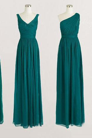 Long Bridesmaid Dress Halter Bridesmaid Dress One Shoulder Bridesmaid Dress Sweetheart Bridesmaid Dress V-neck Bridesmaid Dress Four Style Bridesmaid Dress Chiffon Bridesmaid Dress Pleats Ruching Bridesmaid Dress Emerald Bridesmaid Dress