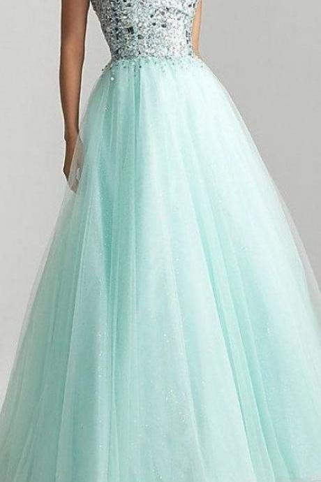 Sexy Prom Dresses,Sleeveless Prom Dress,Long Evening Dress,Party Gowns,Tulle Prom Gown,Long Formal Dress,Light Blue Evening Gowns