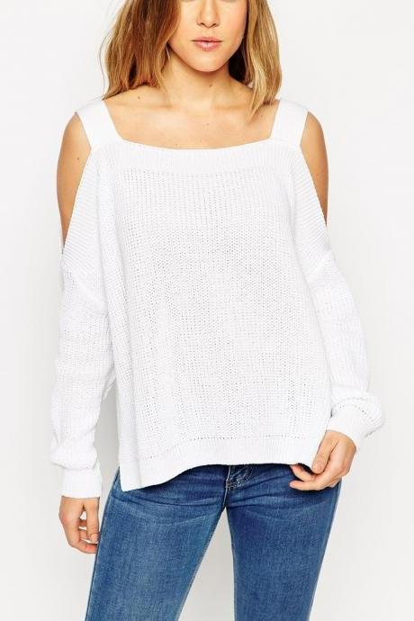 Sexy Strapless Long Sleeved Sweater