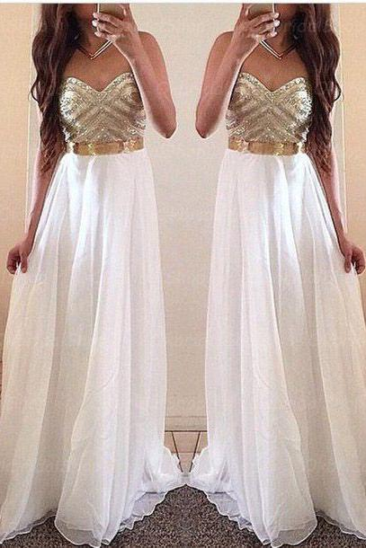 White Prom Dresses,Gold Evening Dress,Unique Prom Dresses, Sexy Prom Dresses, 2016 Prom Gown,Elegant Prom Dress,Gowns for Prom