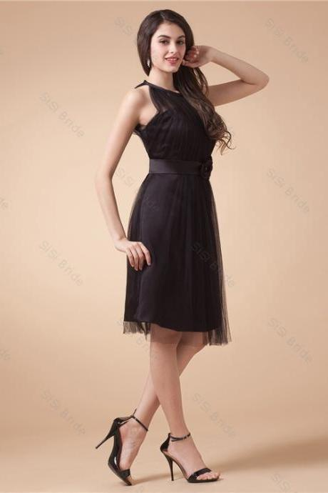 2015 Hot Seling New Sleeveless A Line Black Prom Gown Applique Sheer Back Tulle Cocktail Dresses,Homecoming Dress,Black Prom Dress