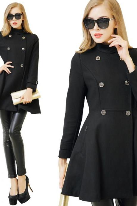Cool Double Breasted Woolen Coat - Black