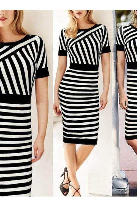 NEW Sexy Women Fashion Slim Bodycon Party Cocktail Evening Striped Summer Dress