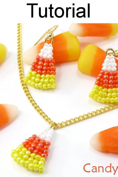 Beading Tutorial Pattern Earrings Necklace Set - Candy Corn Halloween Jewelry - Simple Bead Patterns - Candy Corn Set #15179