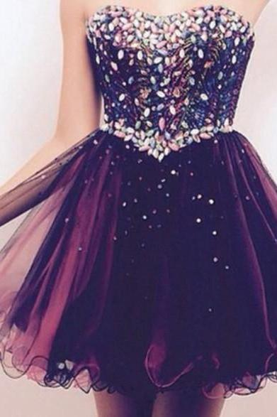 Custom Made A Line Sweetheart Neck Luxury Beaded Short Prom Dresses, Short Homecoming/Graduation Dresses, Party Dresses, Cocktail Dresses, Dresses for Christmas Party