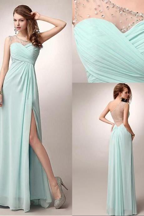 Prom Dress,long Prom Dress,Tulle and Chiffon Prom Dress,one shoulder Prom Dress,A-line Prom Dress,mint Prom Dress,Beaded Prom Dress,dress for prom ,handmade prom dress,cheap prom dress,2015 prom dress