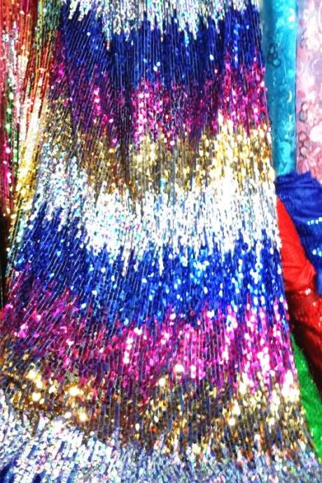 Sparkling Multi-color Metallic Embroidery Sequin Lace Fabric For Women Dress 48 Inch Width Sold At Yard In Gold+Silver+Royal Blue+Fuchsia