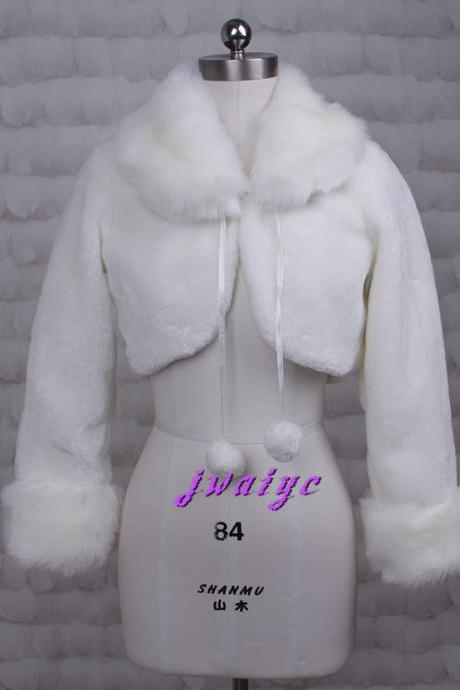 White / ivory faux fur long sleeve jacket bride wedding shawl shawl warm winter jacket