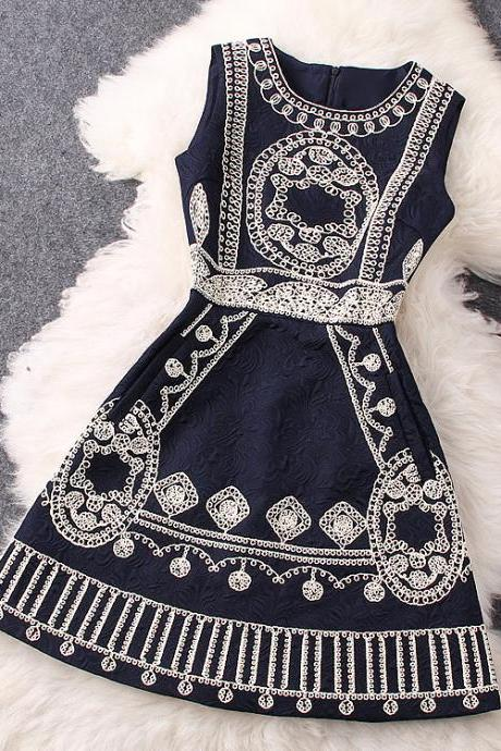 Embroidered Dress In Black