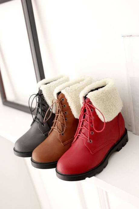 Women's Pure Color Flat Heel Artificial Wool Inside Heighten Crossed Lace Martin Boots