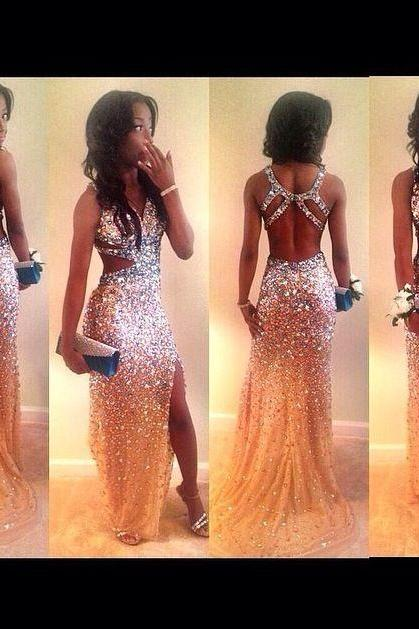 long prom dress, champagne prom dress, glittery prom dress, sexy prom dress, party prom dress, prom dress 2015, charming prom dress, 146598